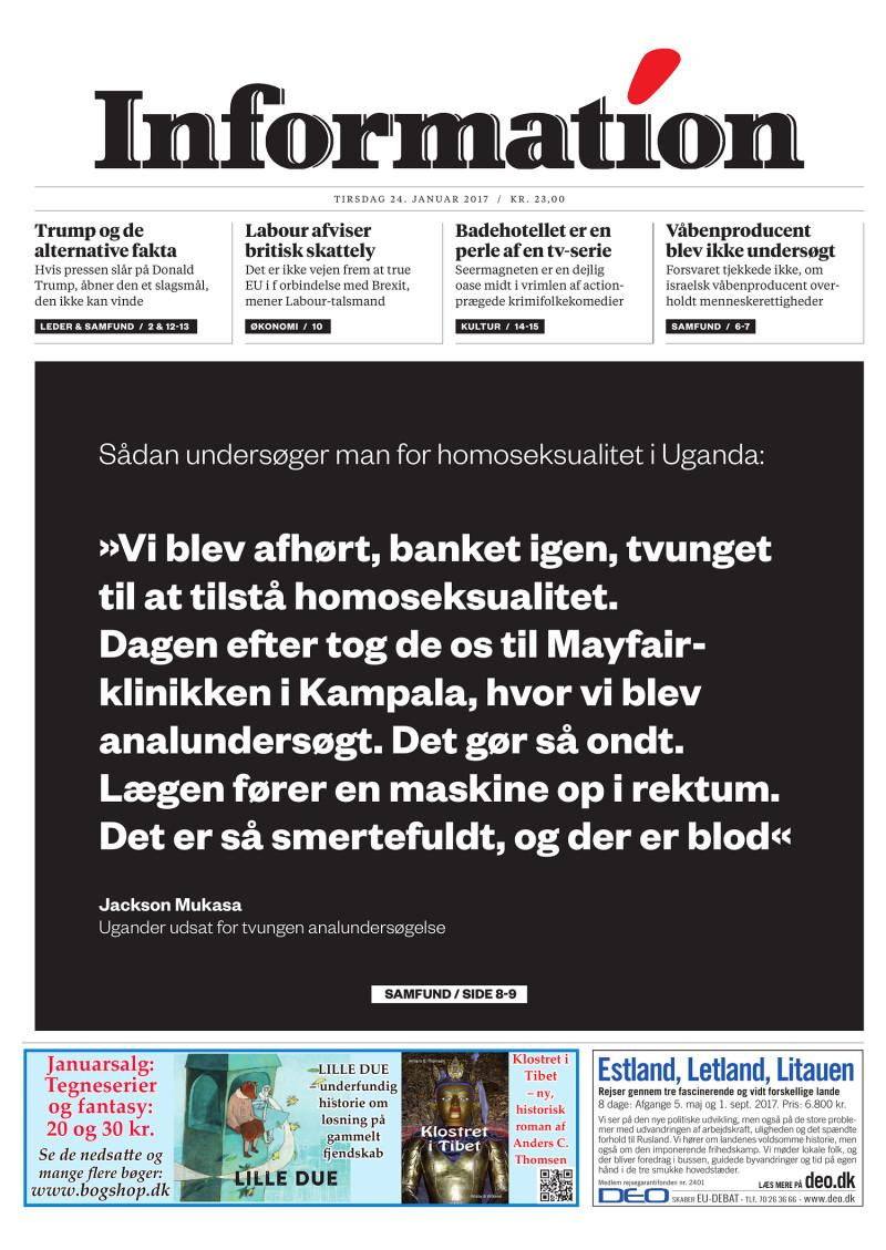Dagbladet Information forside, 29. august 2016