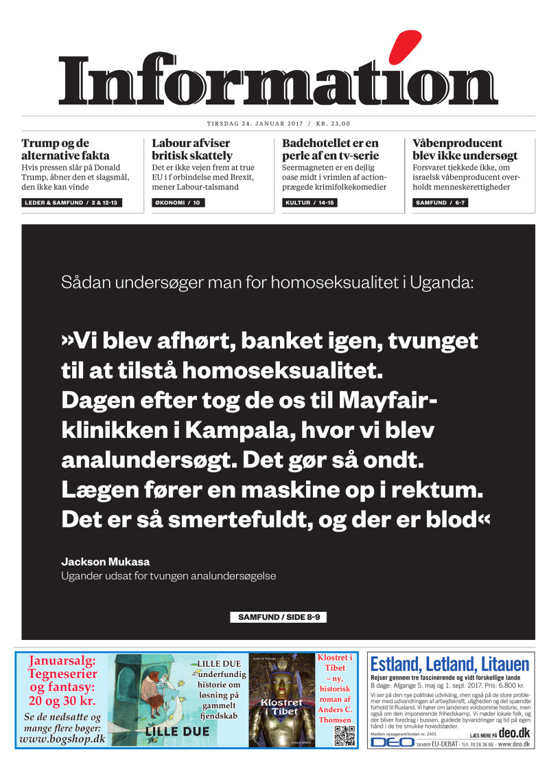 Dagbladet Information forside, 30. august 2016