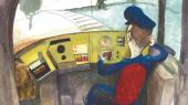 Det fortolkende metaplan i Rikke Valldsens børnebog 'Bennys far kører tog' virker påklistret og må undre den barnelæser, der ikke kender til psykoanalytisk tekstanalyse. Langt bedre er det, når teksten slipper de dekonstruktive tøjler og knalder ud, skriver Informations anmelder. Illustration fra bogen.