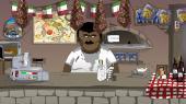 Den falske italiener i pizzeriaet forsøger at lave pizza, men ender med at servere en portion butterchicken for den forvirrede kunde.