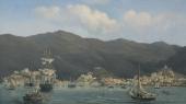 Parti af Havnen ved Sankt Thomas, maleri af Fritz Melbye, 1852.