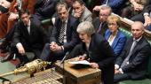 Premierminister Theresa May under debatten lige efter afstemningen i det britiske parlament tirsdag aften, hvor May led det største nederlag en britisk regering har lidt i 100 år.