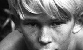 Fluernes herre former sig som en art kollektiv anti-robinsonade, hvor en gruppe tilfældigt sammenbragte engelske drenge under en atomkrig pludselig befinder sig på en øde ø helt uden voksne. Foto fra filmatiseringen fra 1963