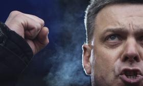 Oleg Tjahnibok er leder af partiet Svoboda og specifikt nævnt på en antisemitisk liste. Der står også parti- og parlamentsmedlem Igor Mirosjnitjenko, som i sidste uge overfaldt en chef for den statsejede tv-kanal.