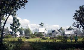 Det danske arkitektfirma EFFEKT er med i front, når det gælder om at designe nye grønne bykvarterer. Her en rendering fra det hollandske projekt, ReGen Village, hvor beboerne vil komme til at leve helt bæredygtigt og selvforsynende.