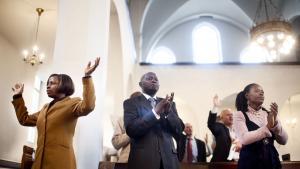 Mandag: I Timotheus-kirken i Valby mødes kristne med rødder i forskellige lande i Afrika hver søndag. 'Church on the rock' er del af pinsekirken. Foto: Kristine Kiilerich