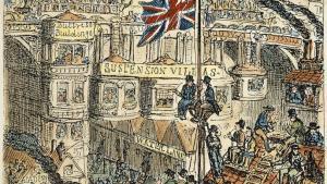 Sådan så Thomas Malthus skrækvision over et overbefolket London ud. Stik af George Cruikshank.