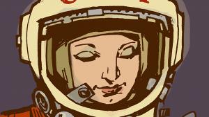 Valentina Tereshkova, den første kvinde i rummet. Var i kredsløb om jorden i 48 timer i Vostok 6 i 1963. Illustration: Philip Bond