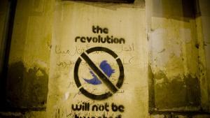 Graffiti i Qasr el-Aini gaden nær Tahrirpladsen i Kairo.