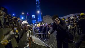 Kinesiske statsmedier har flere gange påstået, at udenlandske kræfter, specielt fra USA, støtter demonstrationerne i Hongkong i et forsøg på at underminere det kinesiske styre – det har protestlederne i Hongkong dog afvist.