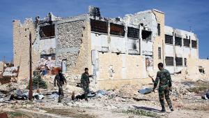 Syriske regeringsstyrker i den østlige del af Aleppo.