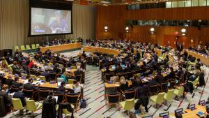 FN har for første gang valgt at holde åbne høringer, hvor kandidater til posten som generalsekretær kan svare på medlemslandenes spørgsmål. Her er det den bulgarske kandidat Irina Bokova.