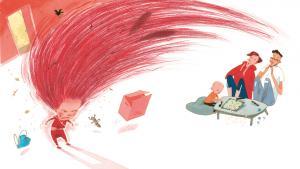 Illustration fra Pija Lindenbaums 'Doris drar', Lilla Piratförlaget, 2015