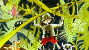 Elise med sin brugte hund i den brasilianske jungle, hvor moderen befinder sig for at bygge en hængebro til indianerne, langt væk fra Mysundegade på Vesterbro.   Illustration fra bogen: Kirsten Raagaard/Gyldendal