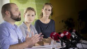 Nikolaj Villumsen, Pernille Skipper og Maria Gjerding, da Enhedslisten mandag holdt pressemøde efter deres sommergruppemøde i Aarhus.