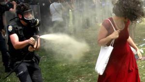 Politibetjenten, der sprayede tåregas på den nu ikoniske dame i rødt, kræves afskediget og fænglset i tre år, skriver tyrkiske medier