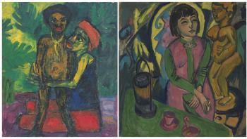 Udstillingen på Statens Museum for kunst har til formål at vise, hvordan Kirchner og Noldes værker var indlejret i den koloniale tankegang, skriver museet. Her ses 'Mutter und knabe' (1914) af Emil Nolde (th.) og 'Siddende kvinde med træskluptur' (1912) (tv.).