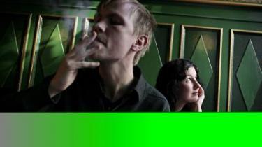 Digteren Lone Hørslev og musikeren Mads Mouritz optrådte lørdag på Roskilde Festivalens scene for det talte ord.