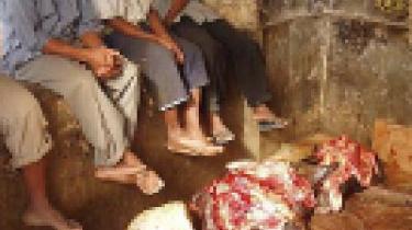 Slagterens bod fra marked på Zanzibar.