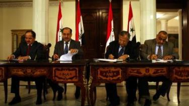 Alliance. Iraks premierminister Nouri al-Maliki, og præsident Jalal Talabanikunne i går præsentere verdenspressen for en ny politisk alliance.