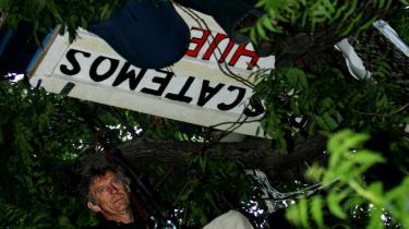 Til tops. Skuespilleren Daryl Hannah (øverst) forskansede sig i et træ i 20 dage med en megafon, igennem hvilken hun meddelte sig til verden. Er det til grin?