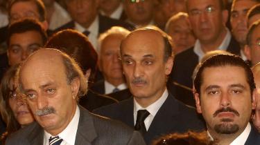 Den anti-syriske fløjs ubestridte leder, Saad Hariri (th.) blev ved begravelsen af Antoine Ghanem, enig med parlamentsformand Nabih Berri, der er en fremtrædende repræsentant for Libanons pro-syriske politikere enig om at præsidentvalget skal gennemføres, og at hvad der beskrives som den nationale dialog må genoptages.