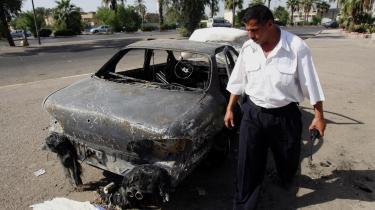 I denne bil blev et ægtepar og deres baby skudt i september. FBI fastslår nu, at lejesoldater fra firmaet Blackwater stod bag denne og andre uprovokerede nedskydninger. Ialt blev 14 irakere dræbt ved skyderierne.