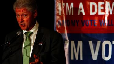 Bill Clinton talte ved Young Democrats National Convention i Manchester, New Hamshire og roste sin kone Hillary.