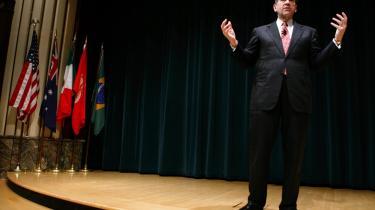 Mike Huckabee er afslappet, jovial, veltalende og vittig. Og ligner lige nu Rudy Giulianis værste konkurrent i kapløbet om at blive republikanernes præsidentkandidat.