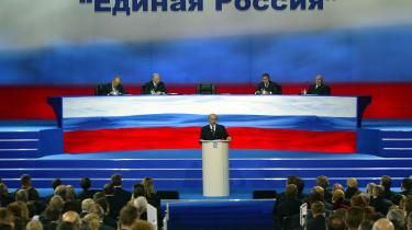 Regimet. Ruslands præsident Putin holder tale ved mandagens partikongres i Moskva.