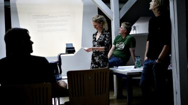 En af de allersidste gruppeeksamener på Københavns Universitet. Regeringen er imod gruppeeksamen, fordi man har krav på en individuel vurdering, når man skal til sin første jobsamtale