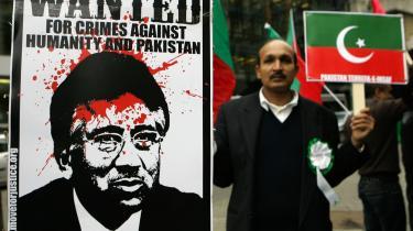 Når Pakistans præsident Pervez Musharraf i disse dage forhandler med ledere fra EU og NATO, bliver han ikke alle steder vel modtaget. I går demonstrerede repræsentanter for diverse partier i Bruxelles imod Musharrafs politik.