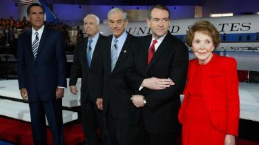 Nancy Reagan var vært for CNN-s tv-debat mellem de republikanske præsidentkandidater Mitt Romney, John McCain, Ron Paul og Mike Huckabee. Debatten foregik i Ronald Reagan Biblioteket, der bl.a. rummer Reagans Air Force One-fly.