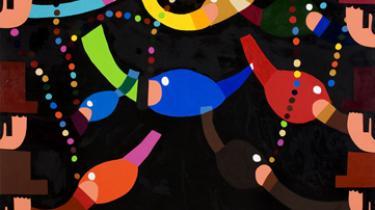 """Han har svært ved at komme ud af sin osteklokke igen, efter at have malet på sine værker og han forventer at kunstnere tager udgangspunkt i deres helt eget udtryk. Kristian Devantier er aktuel med udstillingen """"Gryderet"""" på Galleri Mikael Andersen"""