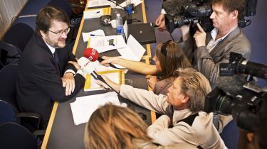 Professor og overvismand Peter Birch Sørensen fremlagde i går de økonomiske vismænds forårsrapport under stor pressebevågenhed.