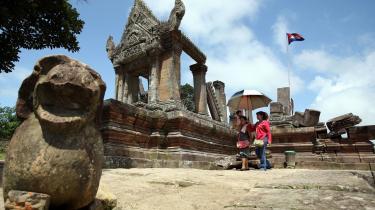 I alt forventes højst otte af de tidligere ledere i Cambodja at blive retsforfulgt. I dag sidder kun fem tidligere Khmer Rouge-ledere fængslet. På billedet Preah Vihear-templet i Cambodja, som netop er blevet UNESCO-kulturarvs-monument.