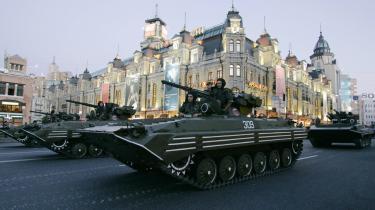 I hovedstaden Kiev forberedte det ukrainske militær sig i går på fejringen af uafhængigheds-dagen på søndag.