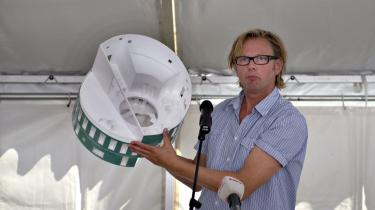 Arkitekt Michael Christensen med sit vinderprojekt til Green Lighthouse.