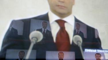 Ruslands præsident Dmitrij Medvedev ftiltrådte præsidentembedet i maj 2008 - han var stabchef for hans forgænger Putin.