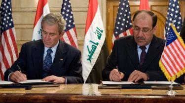 Den amerikanske præsident, George W. Bush, og Iraks premierminister, Nuri al-Maliki, underskrev i sidste uge under Bushs besøg i Irak en aftale om USA-s tilbagetrækning fra Irak. Ifølge aftalen skal alle amerikanske soldater hurtigst muligt ud af alle irakiske byer.