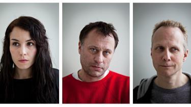 Fra venstre ses Noomi Rapce, som spiller Lisbeth Salander, Michael Nyquist i rollen som journalist Michael Blomkvist. Til højre den danske instruktør af filmen, Niels Arden Oplev.