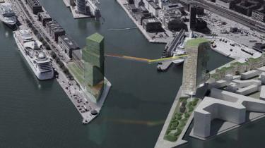 To højhuse på henholdsvis 24 og 27 etager med en bro svævende i 65 meters højde mellem dem er den store plan for Langelinjes nye profil på Marmormolen i Nordhavnen.