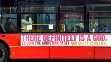 En annoncekampagne fra The Christian Party har provokeret de britiske ateister, der har startet en modkampagne.