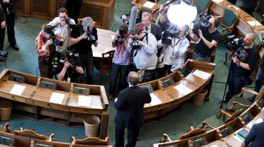 Lars Løkke Rasmussen var i går i pressens søgelys før sin første tale som statsminister i Folketinget.