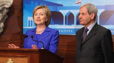 USA-s udenrigsminister, Hillary Clinton, besøgte i går sin libanesiske kollega, Fawzi Salloukh, i Beirut.