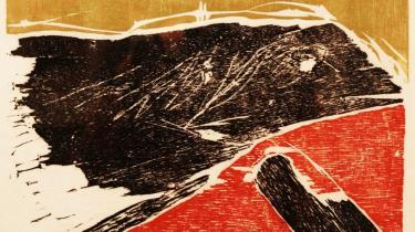 -Ins unbekannte- hedder dette træsnit i fem farver, et prøvetryk fra 1970. Titlen er en hilsen til Rimbaud, hvis digte var en livslang inspiration for Jorn, og det er jo under alle omstændigheder den vej, man som kunstner skal.