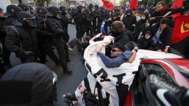Tusindvis af politifolk og demonstranter stødte i går sammen i Berlins gader.