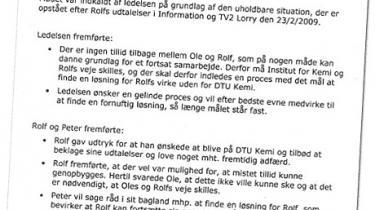 Kritiske udtalelser i pressen kan få alvorlige konsekvenser for de ansatte på Danmarks Tekniske Universitet, viser et mødereferat, som Information er kommet i besiddelse af. Her meddeler chefen, at en åbenmundet forsker må væk fra instituttet