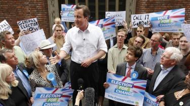 Den britiske leder David Cameron under valgkampen til Europa-Parlamentsvalget. Cameron har efter vlaget stiftet en ny konservativ gruppe i Parlamentet.