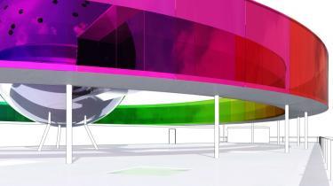Olafur Eliassons kunstværk 'Your Rainbow Panorama' skal stå færdigt på ARoS' tag i 2010.  Det bliver dog uden den enorme sølvkugle i midten, der ellers udgjorde en anseelig del af det oprindelige værk, som ARoS takkede ja til. Kuglen er der nemlig ikke råd til.